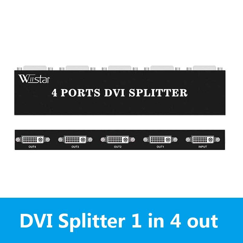 Divisor DVI Wiistar 1X4 distribuidor de DVI-D 1 en 4 Out 1920x1440 para monitor de Proyector, tarjeta gráfica de ordenador