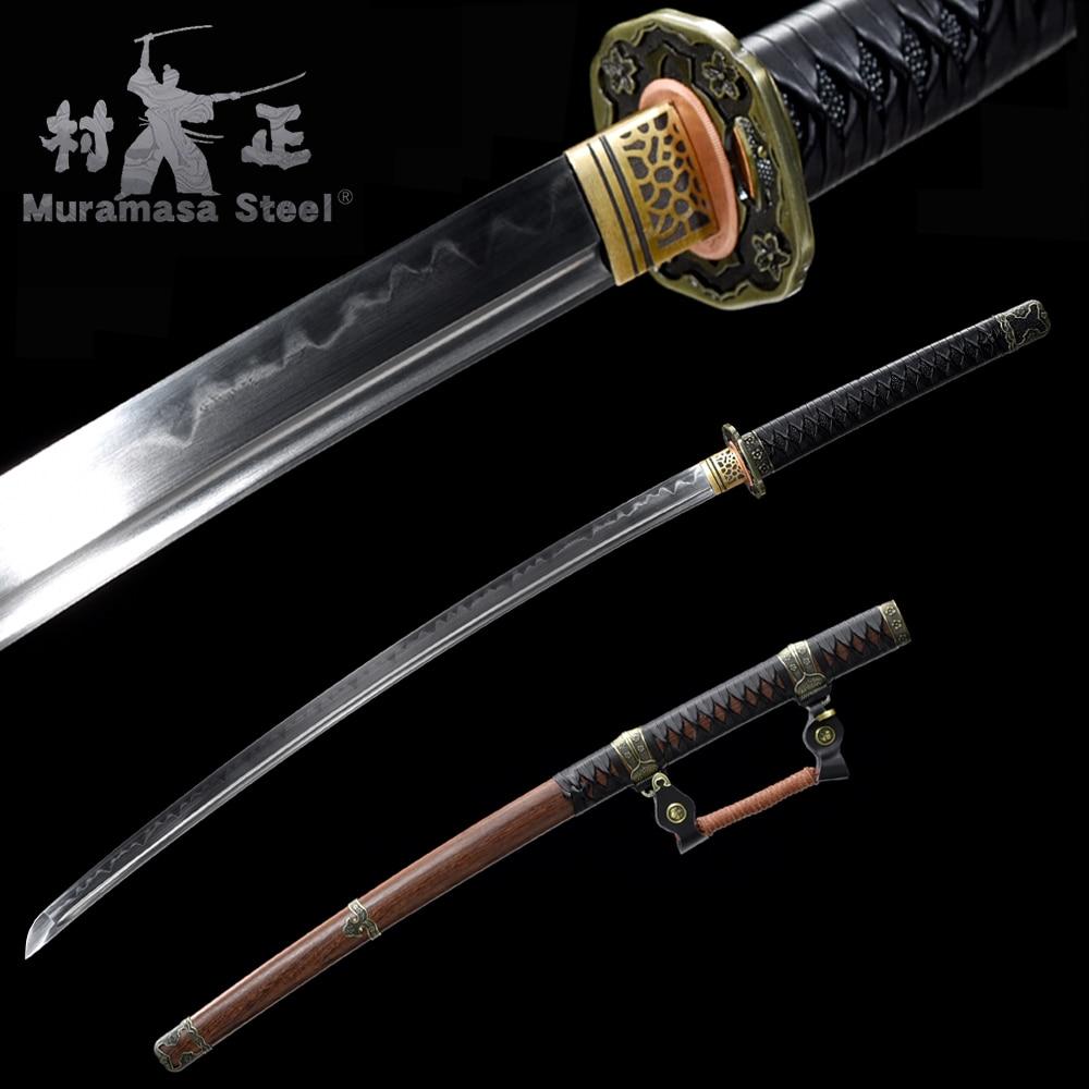 Handmade Japanese Sword-Real Katana-T10 Steel Blade Full Tang Clay Tempered Razor Sharp-Officer's Tachi Sword Rose Wooden Saya