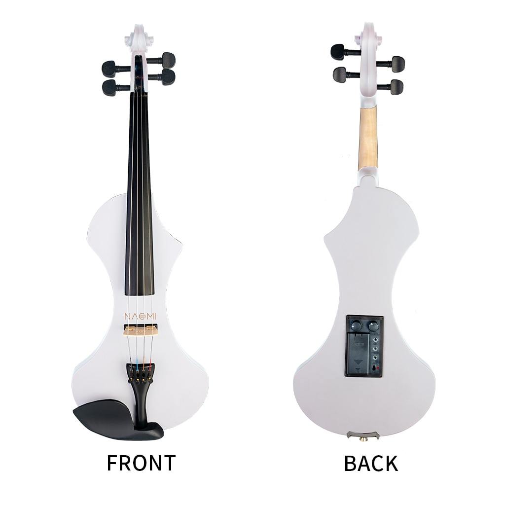NAOMI Full Size 4/4 Violin Solid Wood Electric Silent Violin Fiddle Electric Violin w Effect Pedal For Beginners enlarge