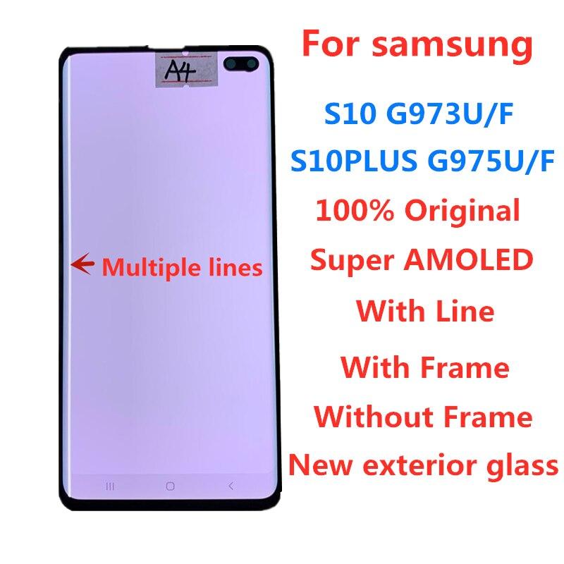 Оригинальный AMOLED с линией для SAMSUNG Galaxy S10 G973F G973U S10 + S10PLUS LCD G975F G975U дисплей сенсорный экран Запасные части