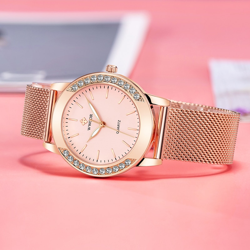 WWOOR Women Watches 2020 Luxury Brand Diamond Rose Gold Watch Pink Quartz Ladies Wrist Watch Bracelet For Women Relogio Feminino enlarge