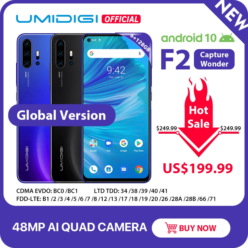 "IN STOCK UMIDIGI F2 Android 10 Global Version 6.53""FHD+6GB 128GB 48MP AI Quad Camera 32MP Selfie Helio P70 Cellphone 5150mAh NFC"