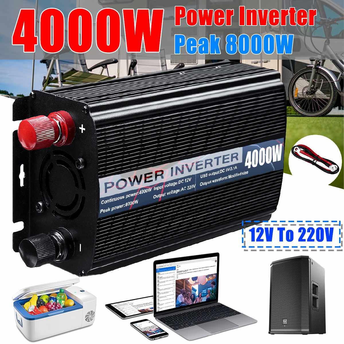 Eficiente Dual USB Max 8000W cc 12V a CA 220V inversor de corriente del coche cargador adaptador transformador de onda sinusoidal modificada 4000W