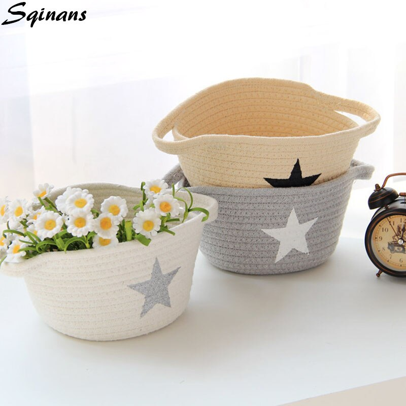 Hand-knitted Nordic Linen Foldable Toy Storage Basket Organizer Natural Fabric Home Organization Clothes Hamper Laundry Basket