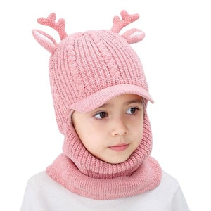 Doitbest 2 to 6 years Boy girl Beanie Protect neck Conjoined Cartoon antlers Windproof Winter Child knit hat kids Earflap Caps