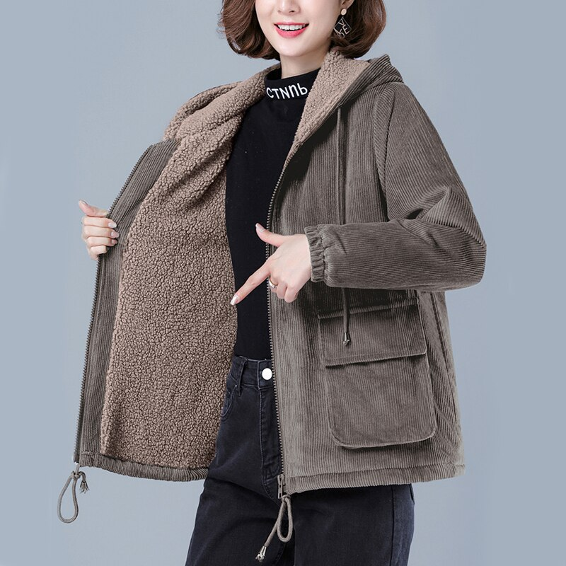 Zoki سميكة النساء سروال قصير سترة الشتاء القطن خمر فضفاض مقنعين الإناث فضفاضة حجم كبير معطف كوري ملابس دافئة غير رسمية 2021