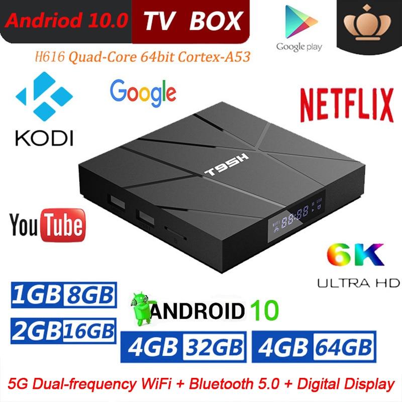 Presente esperto da caixa ajustada da parte superior da caixa com controle remoto da rom de allwinnner h616 10.0g wifi bluetooth 6k hd da caixa 4gb ram 32gb 64gb da tevê de t95h android 2.4