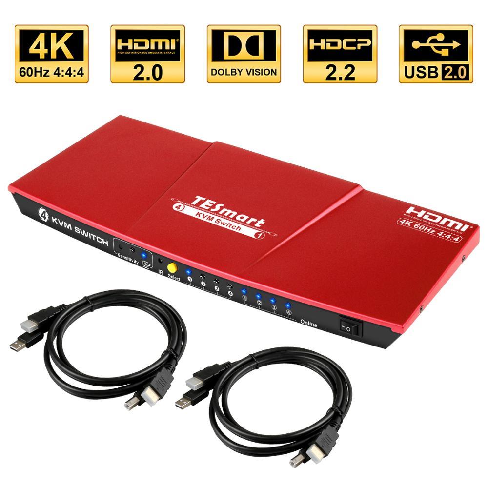 مفتاح ماكينة افتراضية معتمدة على النواة HDMI 4K @ 60Hz الترا HD يو أس بي عالية الجودة مفتاح ماكينة افتراضية معتمدة على النواة er 4 منفذ قطعة تقاسم 4 أج...