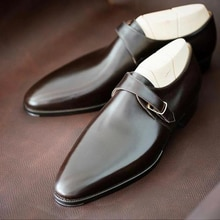 Men pu Leather Shoes Low Heel Loafers Dress Shoes Spring monk strap shoes  Vintage Classic Male Casu