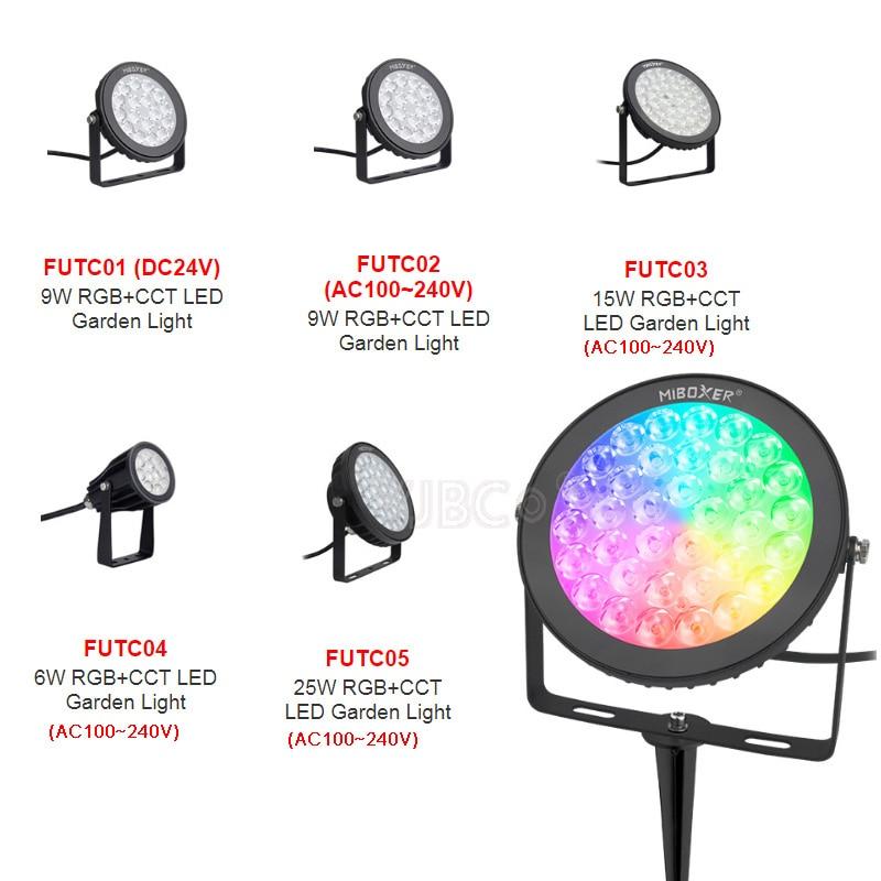 Miboxer 6W 9W 15W 25W led الحديقة ضوء RGB + CCT حديقة ضوء للماء IP66 في الهواء الطلق الإضاءة 24V 110V 220V خارج الديكور