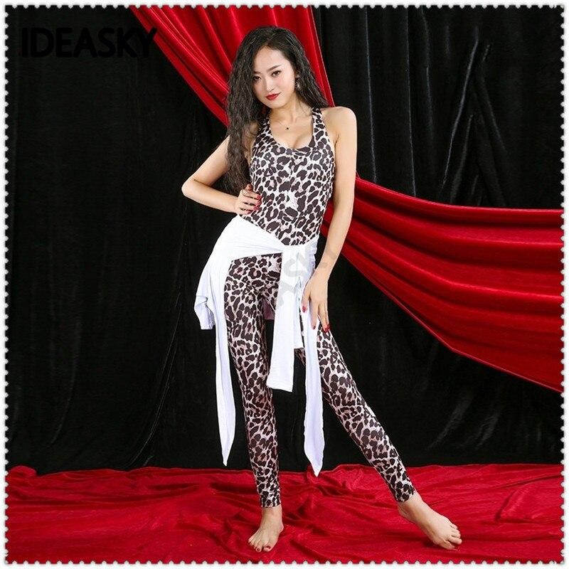 Women Baladi Shaabi Saidi leopard print top bellydance belly dance crop costume set performance plus size sexy practice wear