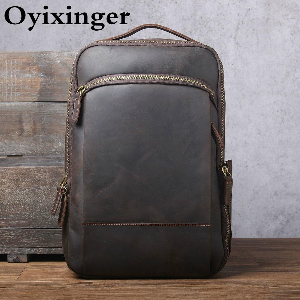 OYIXINGER Men's Vintage Laptop Backpack Genuine Crazy Horse Cowhide Backpacks For 15