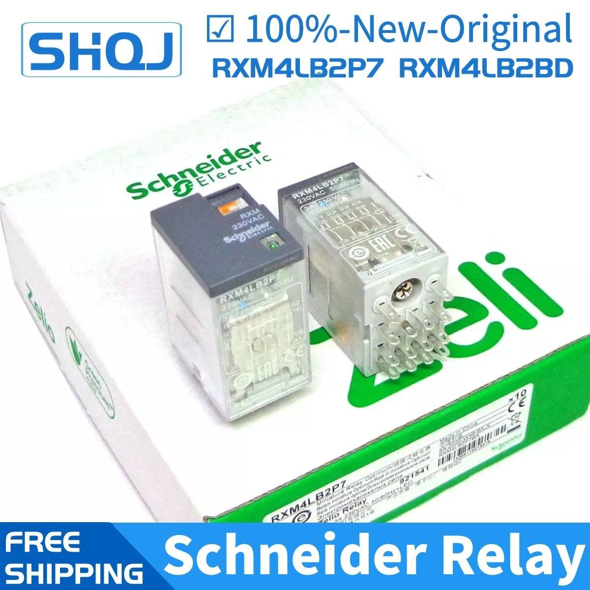 10 قطعة شنايدر التتابع RXM4LB2BD RXM4LB2P7 RXM4LB2F7 RXZE1M4C 4CO 3A 24VDC 230VAC 120VAC العلامة التجارية جديد ومبتكرة شنايدر التتابع