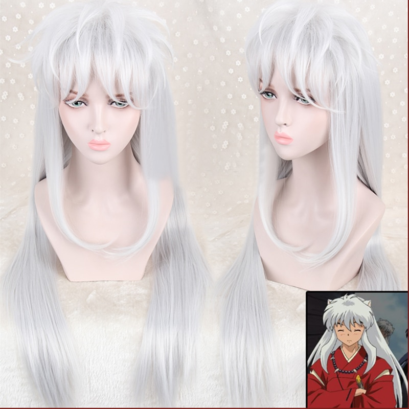 Inuyasha 100cm Long Silver White Styled Sesshoumaru Cosplay Wig With Ears Heat Resistant Hair Cosplay Wig + Free Wig Cap