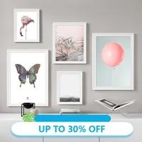Peinture sur toile daffiches danimaux  ballon doiseau rose  papillon  tableau dart mural pour decoration de salon  decoration de maison