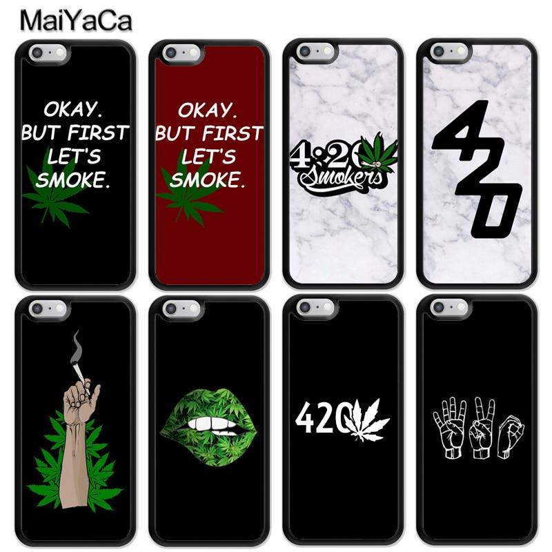 MaiYaCa fumadores 420 parejas de caso para iphone 11 Pro MAX X XR XS MAX SE 2020 6 7 8 Plus 5S cubierta