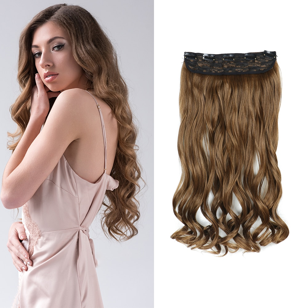 22 Inch Long Wavy 5 Clips In one Piece Synthetic Hair Extensions False Blonde Hair Brown Black Hair Pieces For Women Girls