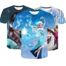 Kids Girl Anna 2 Elsa Print T Shirt Summer Baby Cotton Tops Toddler Tees Clothes Children T-shirts Short Sleeve Casual Wear