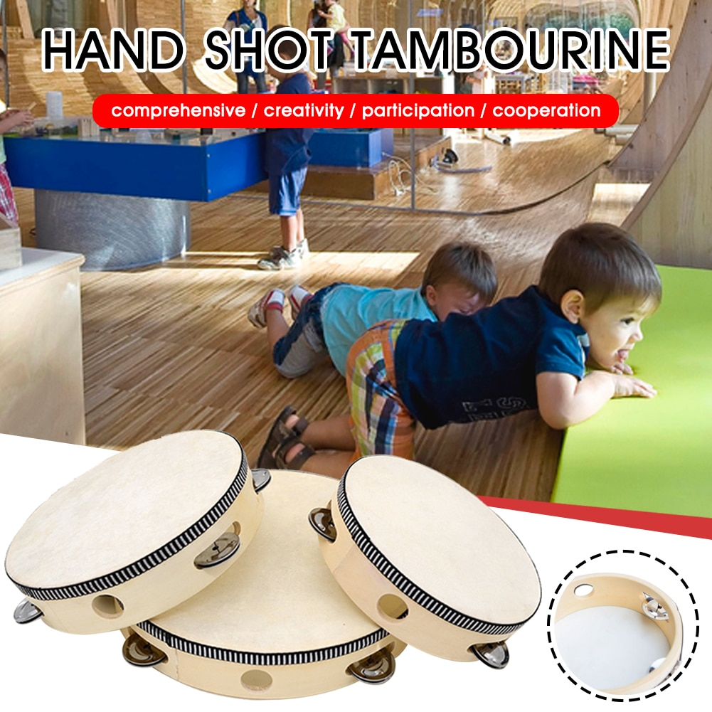2Pcs Tambourine for Kids Adults Wood Handheld Drum Percussion Musical Instrument for Party Dancing Games Gift for Friends