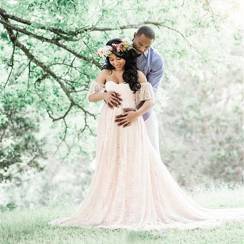 Hot Long Maternity Photography Props Pregnancy Dress Photography Maternity Dresses For Photo Shoot Pregnant Dress Lace Maxi Gown