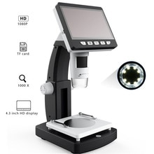 MUSTOOL 1000X Digital Mikroskop 4,3 zoll HD 1080P Tragbare Desktop LCD Digital Mikroskop Einstellbar 10 Sprachen 8 LED G710