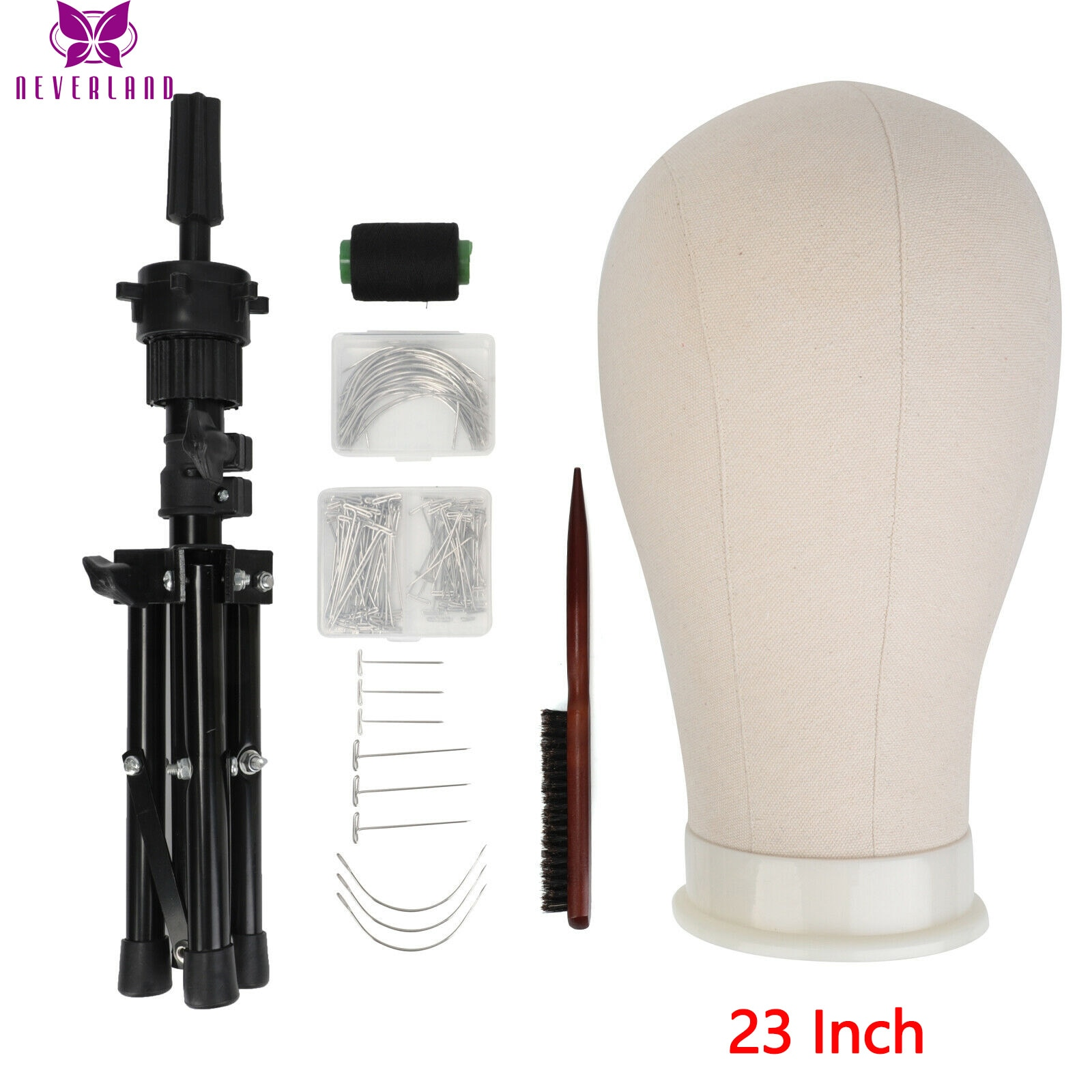 23 Inch Training Mannequin Head Canvas Head For Wigs Making Wig Hair Brush With T Pins Needles Set With Tripod Wig Stand