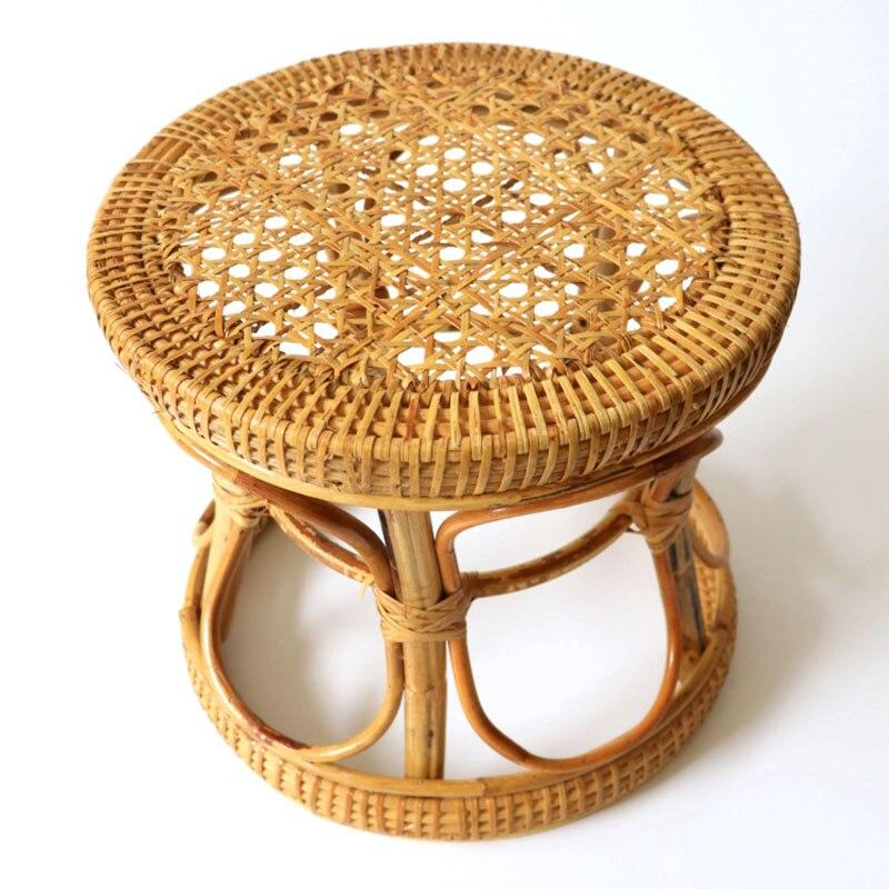 كرسي دائري من الخيزران للأطفال ، كرسي منخفض ، منسوج يدويًا ، ريترو ، بسيط ، منزلي ، للأحذية
