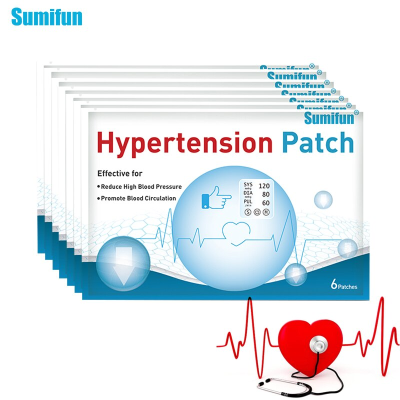Sumifun 54pcs Chinese Traditional Medical Anti Hypertension Patch Reduce High Blood Pressure Clean Blood Vessel Herbal Plaster