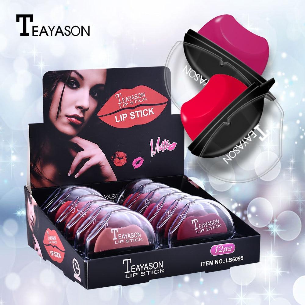 12PCS/LOT Makeup Matte Lazy Person Lipstick Easy to Use Velvet Lip Stick Sexy Red Pigmented Make Up Sluggard Beauty Lipstick Box