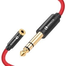 6.5mm Male to 3.5mm Female Audio Cable Stereo Jack Adapter Extension Wire Cord for Amplifiers Home T