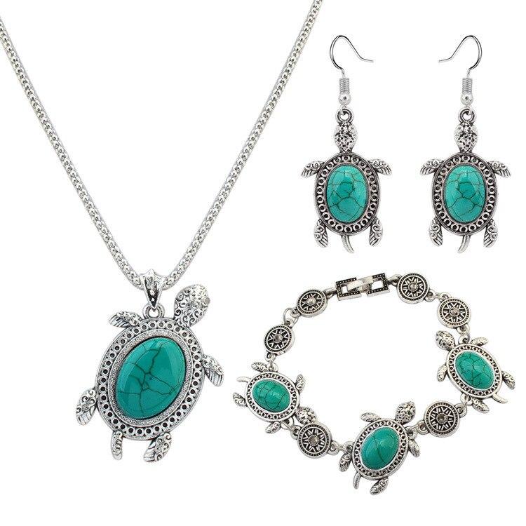 DSHI58 أزياء سلحفاة الحجر الأخضر بدلة ريترو قلادة أقراط أساور مجوهرات ثلاث قطع هدية رابط للمشتري