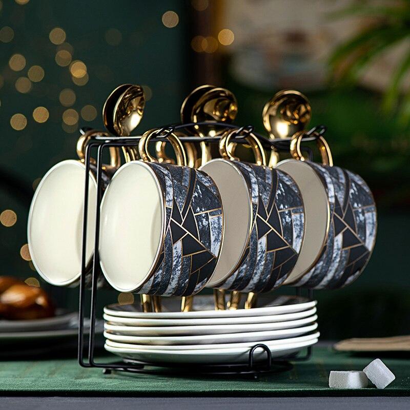 Juego de taza y platillo de café de lujo nórdico, juego de té de cerámica, taza de café Koffie Kopjes, juego de té azul oscuro, taza para 4 o 6 FF70C25