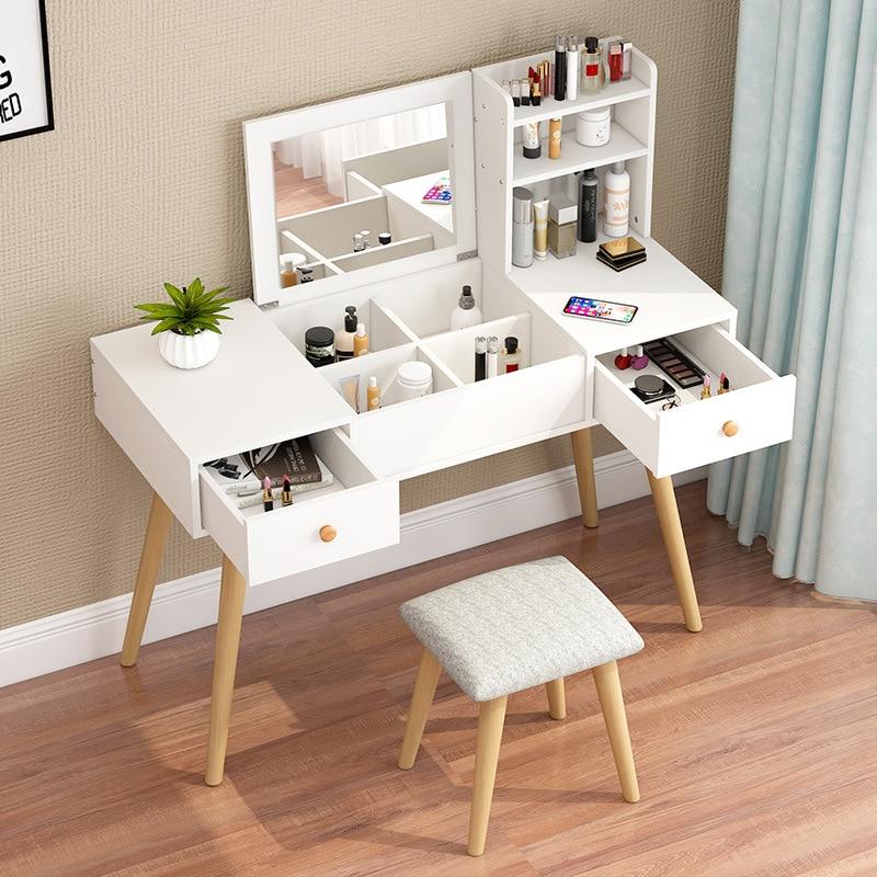 Скандинавский ins ветрозащитный сетчатый красный макияжный стол для спальни маленькой квартиры туалетный столик простой Модер раскладное з...