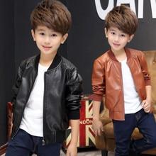 Baby Boy Clothes Winter Leather Jacket Kids Coat Black and Brown Color Children Jackets ALIJUTOU Kids Jacket For Boys