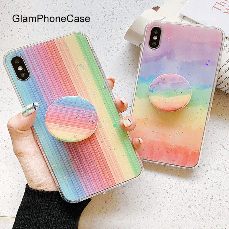 GlamPhoneCase paillettes arc-en-ciel support téléphone étui pour iPhone X XS Max XR couverture en Silicone souple pour iPhone 7 8 6 6s Plus étui