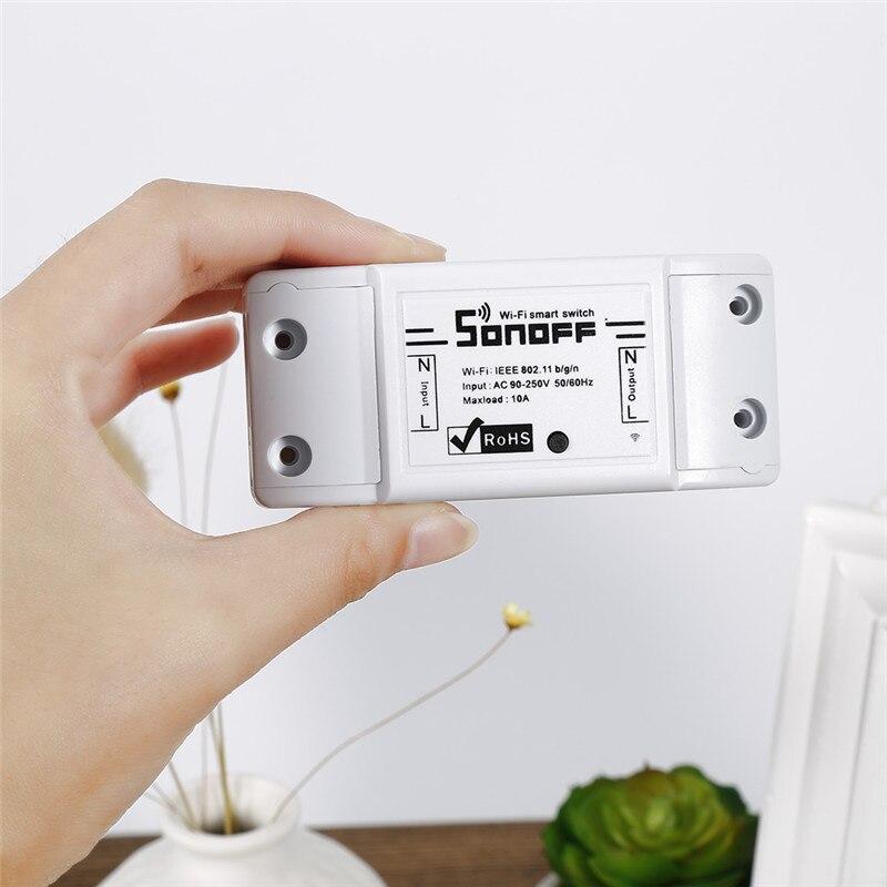 Sonoff-controlador inteligente para hogar, enchufe de pared inteligente inalámbrico con Wifi, luz con Control remoto, módulo automático, trabajo DIY de sincronización inteligente con Alexa, 1 Uds.