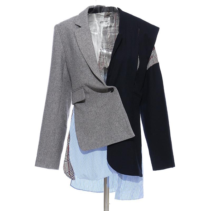 Women Long Wool Blazer Colorblock Single Button Asymmetrical High Street Blazer Coat