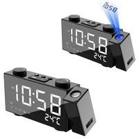6 Inch Digital Alarm Clock Projection FM Radio Snooze Temperature Time Display 180 Degree Rotation USB Output Mirror LED Clock