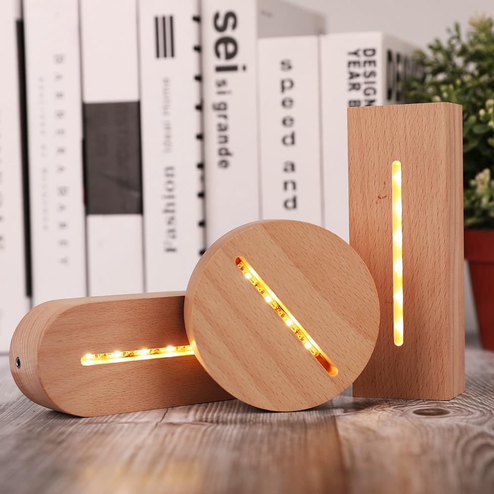 Base da lâmpada de madeira 3d led mesa luz noturna base para acrílico branco quente suporte da lâmpada iluminação acessórios montado base 2021