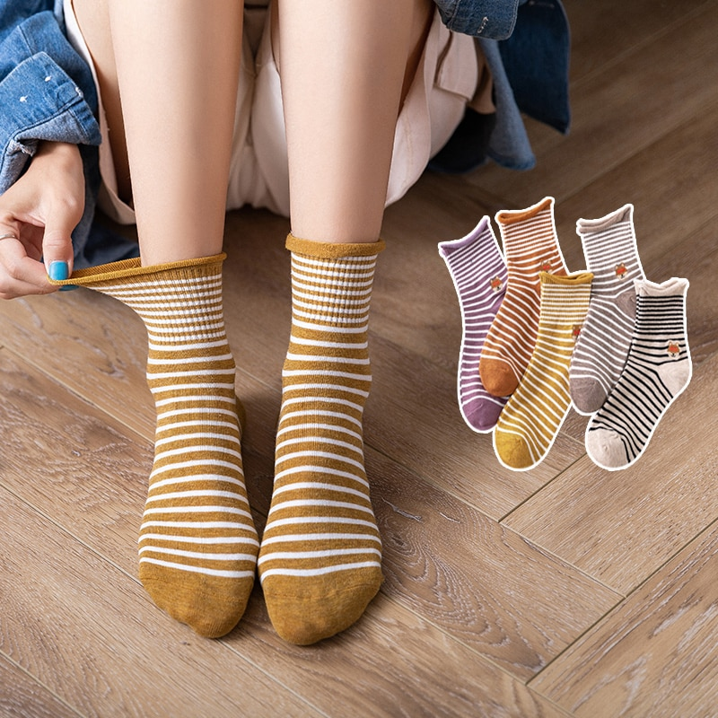 Women's Socks Middle Tube Cotton Socks Summer Thin Japanese Style All-Matching Striped Net Red Style