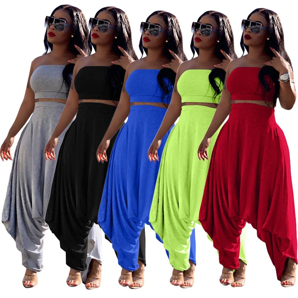 Otoño nuevo color sólido de las mujeres de estampado conjunto sin tirantes crop top haren pantalones traje de dos piezas conjunto de traje de chándal de fiesta vintage GL6299