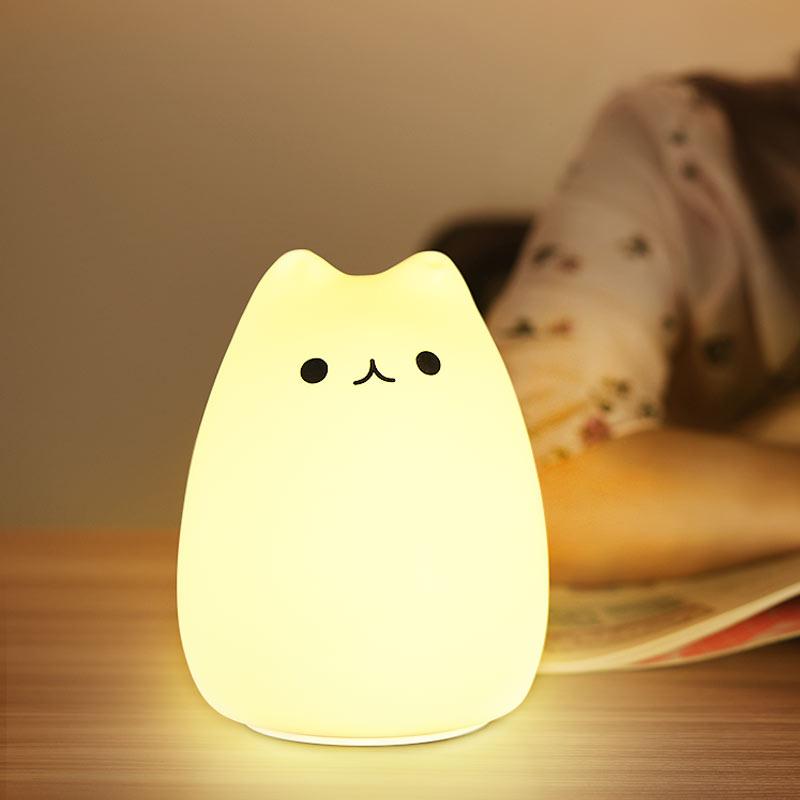 LED coloré veilleuse mignon Mini Animal Silicone doux dessin animé enfants bébé enfants pépinière lampe pour chambre cadeau de noël jouet
