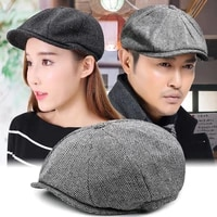 autumn and winter warm woolen octagonal hat large size newsboy hat beret big outdoor male and female painter hat