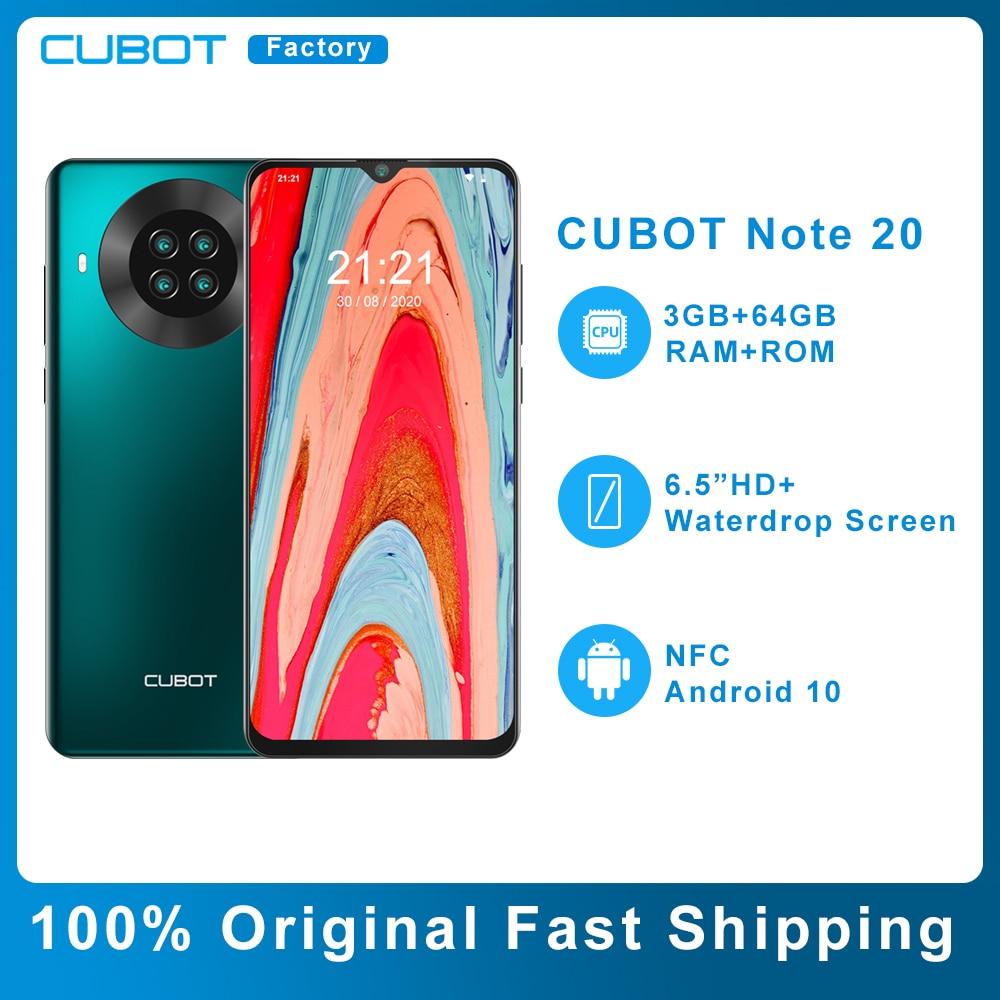 Оригинальный Cubot Note 20 NFC, 3 Гб оперативной памяти, Оперативная память 64 Гб Встроенная память смартфон 6,5 дюйм HD + Дисплей Android 10 с двумя сим-картами 4...