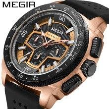 MEGIR Men Sport Military Watch Luminous Waterproof Chronograph Quartz Watches Clock Men Top Brand Lu