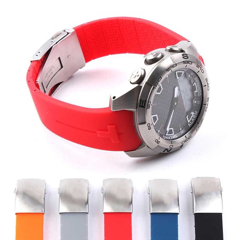 rubber watchband for tissot watch strap sports t touch t013420a t047 t33 bracelet man silicone bracelet 20mm 21mm orange black Silicone WatchBand 20mm 21mm Sports For Tissot Touch T013 T047 Rubber Strap T-Sport Watchband Waterproof T013420A T047420A T33