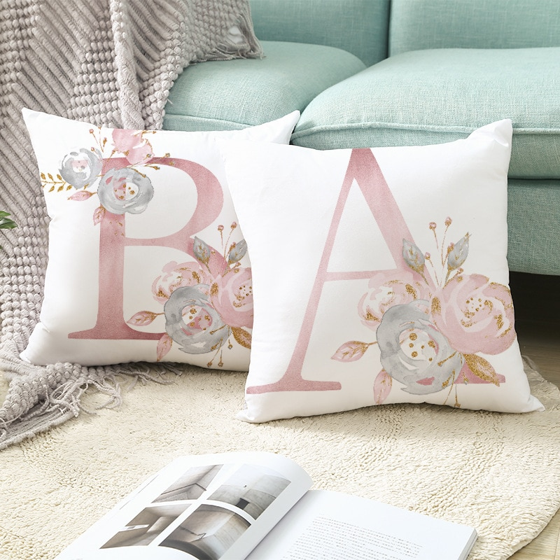 red rose flower heart polyester decorative throw pillowcase i love you letter cushions cover for sofa car valentine s day gift Pink Letter Decorative Pillow Cushion Cover Pillowcase Polyester  Throw Pillow for Sofa Polyester Pillowcover cuscini decorative