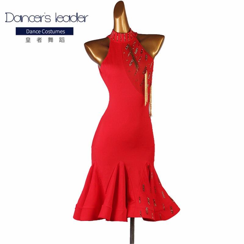 ملابس الرقص اللاتيني, ملابس ممارسة الرقص اللاتيني فستان ذهبي بشراشيب توب رقص مخصص عالي الجودة لمسابقات عروض