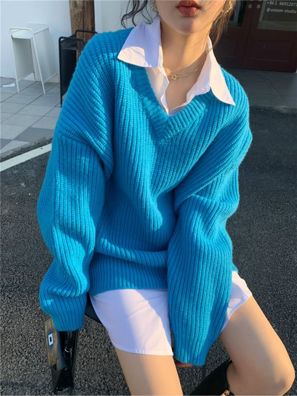 V-neck Sweater Fashion Loose Solid Color Long Sleeve Thickened Knit Pullover Sweaters Winter Clothes Women enlarge