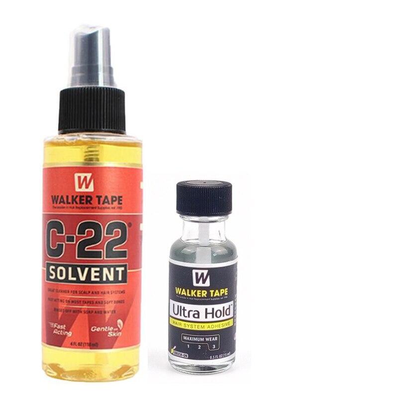 4FL.OZ(118ml)  Walker Tape C-22 Solvent Remover  + 1bottel Ultra Hold Adhesive Glue For Toupee Hair 0.5 Oz / 15ml
